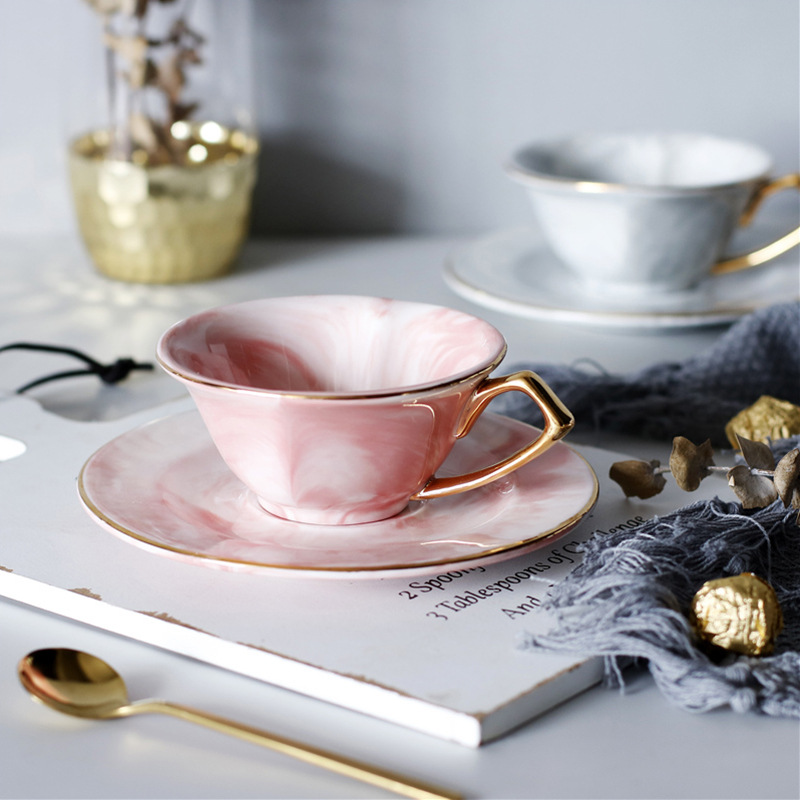 Mármol patrón en forma de corazón de cerámica taza de café pareja amante regalo de la taza café leche té desayuno taza de porcelana