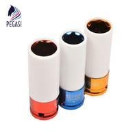 PEGASI 3Pcs 1 2 Inch Dr Alloy Wheel Deep Impact Lug Nut Socket Set 17mm 19mm