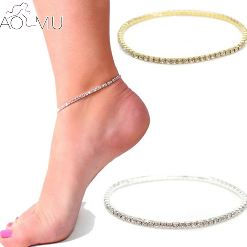 AOMU One Row Clear Crystal Tennis Gold Silver Color Stretch Anklet Bracelet Foot Chain Leg Bracelet Foot Jewelry For Women