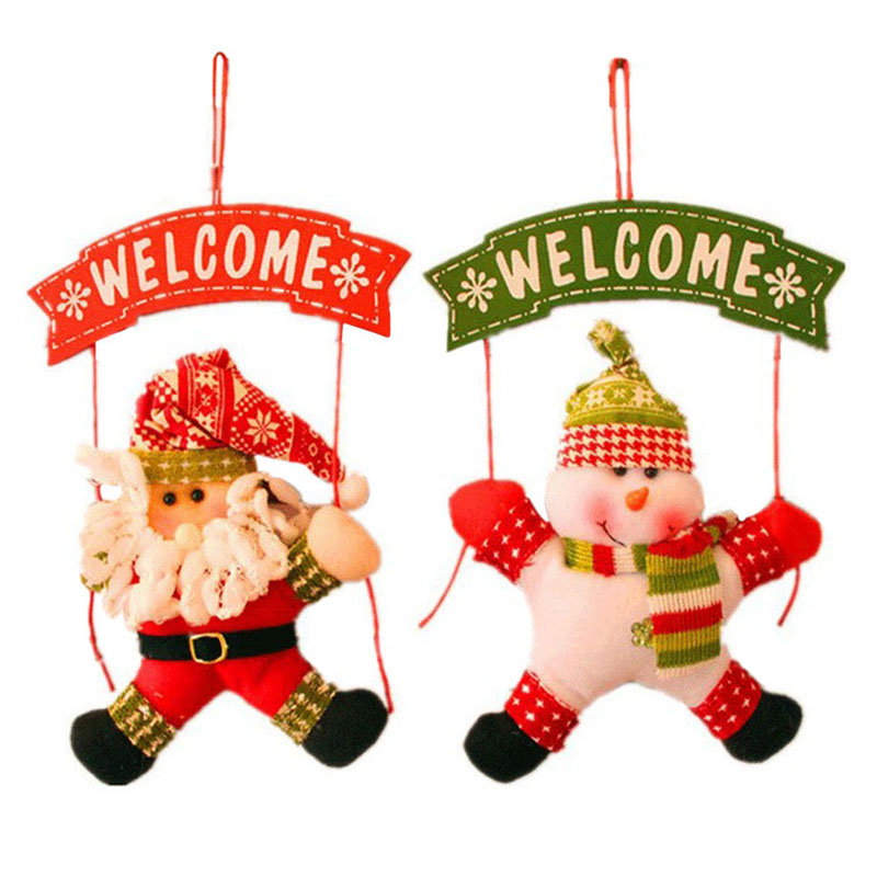 1pcs Outdoor Santa Claus Snowman Welcome Hanging Decor for Xmas Tree Door Decor Merry Christmas Pendant Home Decoration navidad