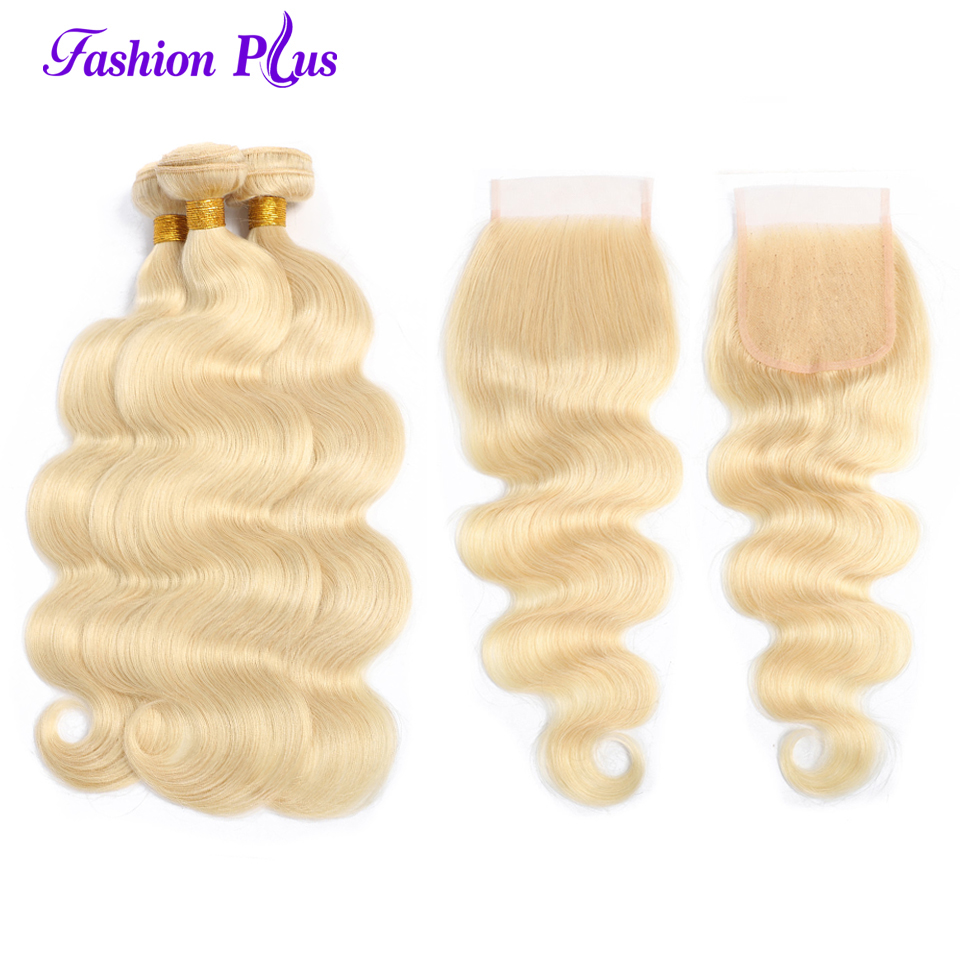 Remy Brazilian 613 Hair Bundles With Closure 100%Human Hair Weave Bundles Body Wave Hair 613 Blond Bundles With Lace Closure