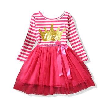 c98632e73859e83 Для новорожденных с длинными рукавами для маленьких девочек От 1 до 2 лет  платье для дня рождения Одежда для девочек Детские платья для мален.