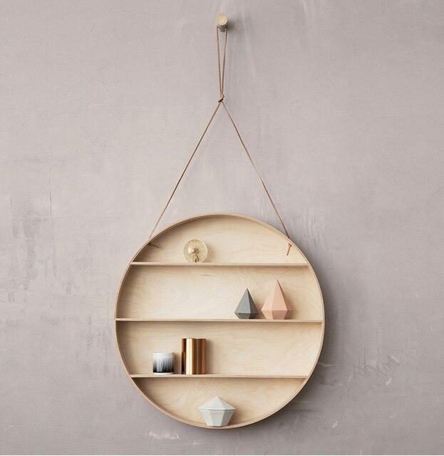 Ferm Living Creative Wall Hanging Rack Shelf StorWall Denmark Circular  Birch Wall Hanging Wall TV Background