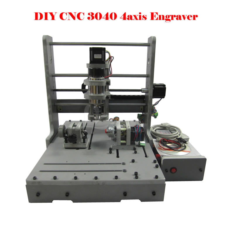 Russia no tax DIY 3040 4axis mini CNC Router Engraving Drilling and Milling Machine for wood metal cutting free tax desktop cnc wood router 3040 engraving drilling and milling machine