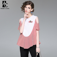 High Quality Spring Summer Women T Shirt White Chest Red Strip Patchwork Shirt Hollow Out Shoulder