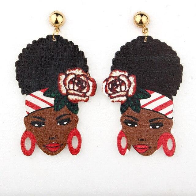 1 Пара Индийских Африке Женщины Заявление Серьги Серьга Для Женщин Ювелирные Изделия Красочный Рисунок Цветок Дерево Долго Болтаются Серьги E1063