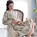 2017 de primavera y verano y otoño algodón tejido de manga larga distancia entre ejes pijamas del camisón de la princesa encantadora ropa de dormir