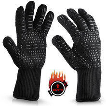 hot style oven high temperature resistant, heat resistant and cut 500/800 degree a pair of gloves 500 degrees heat insulation gloves high temperature resistant gloves to hot flame retardant aluminum foil meta aramid fire luvas