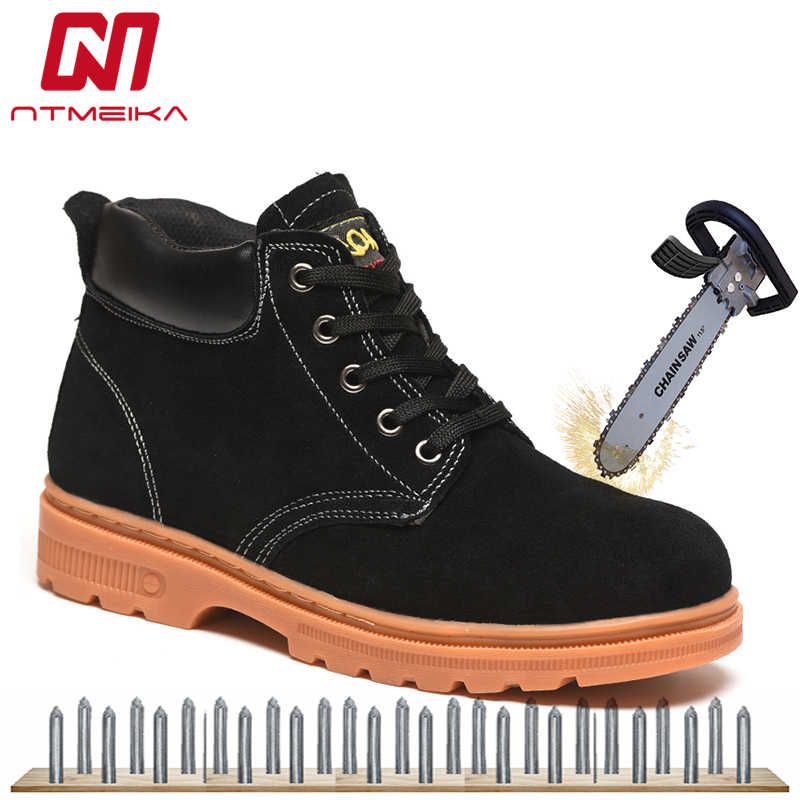 d651891eef4 Cow Suede Men Safety Shoes Steel Toe Fashion Wear-Resisting Safety Boots  For Men Outdoor Work Shoes Men Big Size 36-46 Shoes