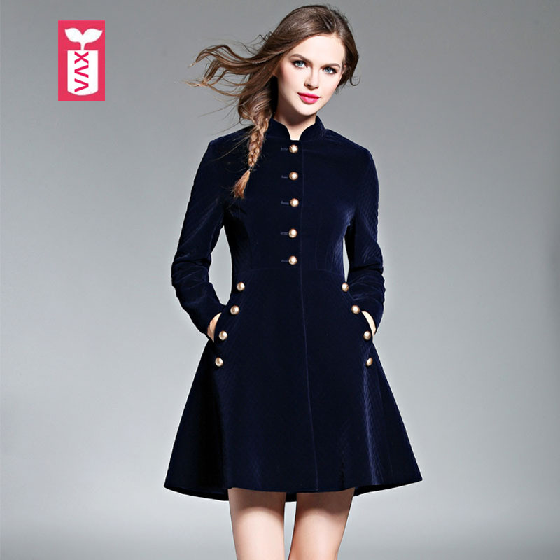 Export High-end Brand 2018 Pleuche Formal Noble Party Dresses Womens Female Long Sleeve Button Pocket Velvet Vestidos Summer