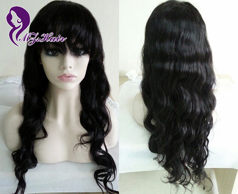 Full Lace Human Hair Wigs With Bangs Body Wave Brazilian