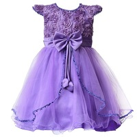 Rose Flower Girl Dress Tutu Wedding Party Dresses For Girls 2-7Y Birthday Clothes Children Teenager Prom Designs Kids Clothes