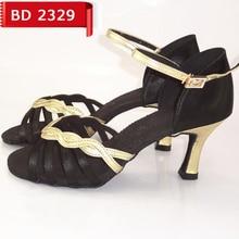 ad646070 Salón Latino danza Zapatos mujeres salsa BD 2329 Zapatos negro y oro  desgaste inferior suave antideslizante baile talón 7.5 cm s.