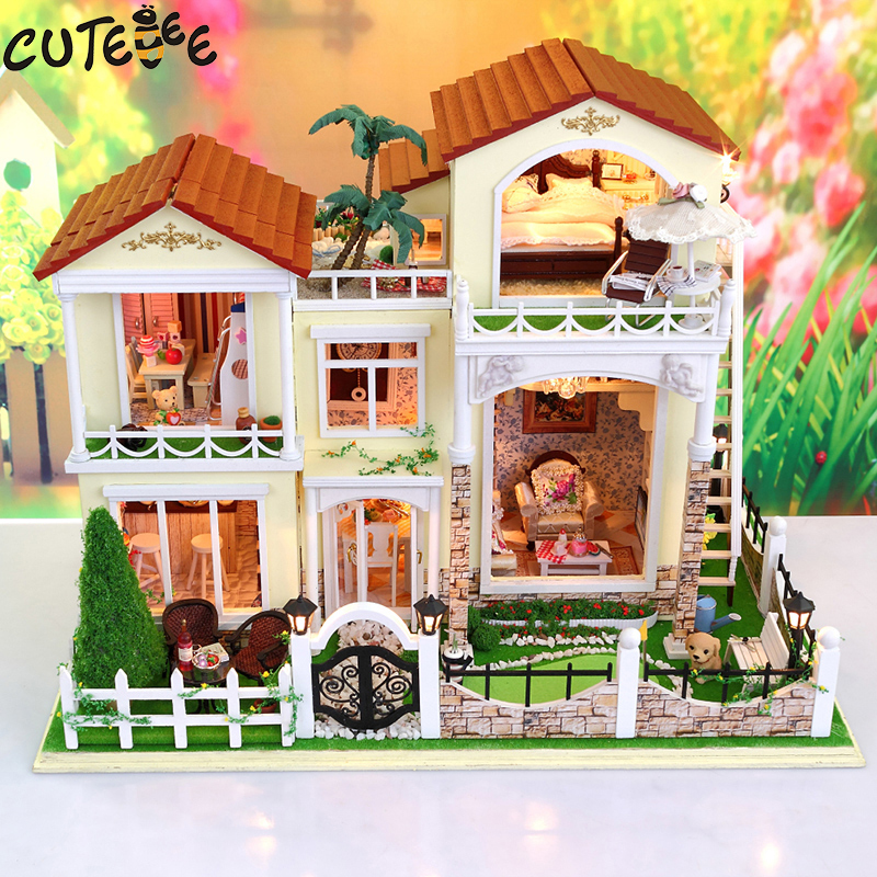 CUTEBEE Doll House Miniature DIY Dollhouse With Furnitures Wooden House  Toys For Children Birthday Gift 3833 cutebee doll house miniature diy dollhouse with furnitures wooden house toys for children birthday gift best tours a 027