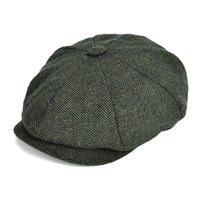 VOBOOM Woollen Tweed Newsboy Cap Men Hat Women Herringbone Mens Wool Blend Apple Caps Autumn Winter Eight Panel Cabbie Hats 131