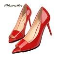 Plardin Mujeres Bombea Los Zapatos Peep Toe de la Boda Elegante Nupcial Rojo tacones Dulce Mujer Zapatos de Fiesta de Las Mujeres los Altos Talones Finos inferiores bombas