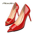 plardin Women Peep Toe Wedding Pumps Shoes Elegant  Red Bridal Heels Sweet Party Shoes Woman Women bottom Thin High Heels Pumps