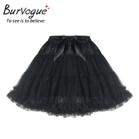 Burvogue Mini Steampunk Skirts For Women Elegant Tulle Skirt Summer Pleated With Bow Decoration New Fluffy