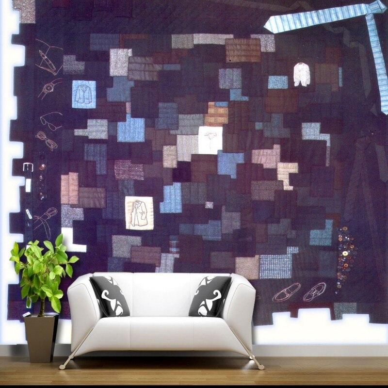 Foto Kustom Wallpaper Custom Pakaian Fashion Keren Warna Kotak Biru Latar Belakang Wallpaper Ruang Tamu Kamar