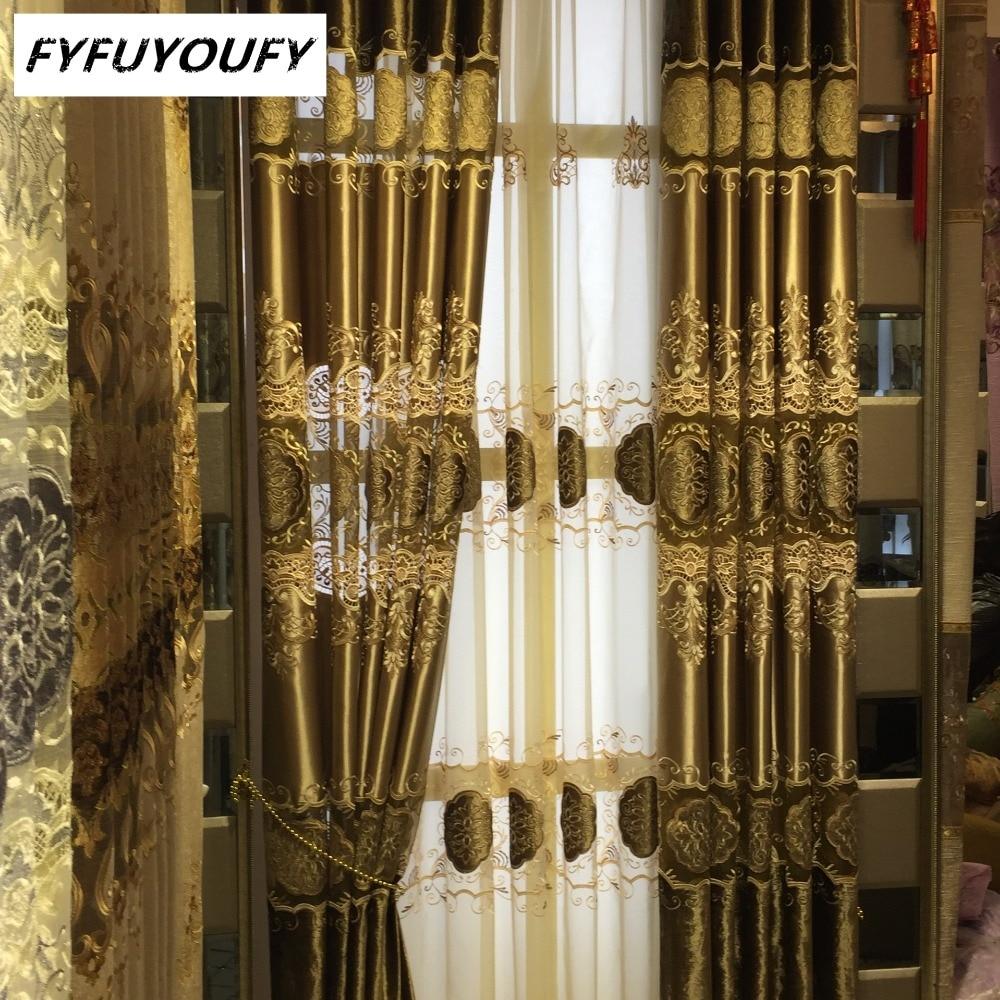 100% Polyester Avrupa Lüks Perdeleri nakış perde Salon / Mutfak - Ev Tekstili - Fotoğraf 1