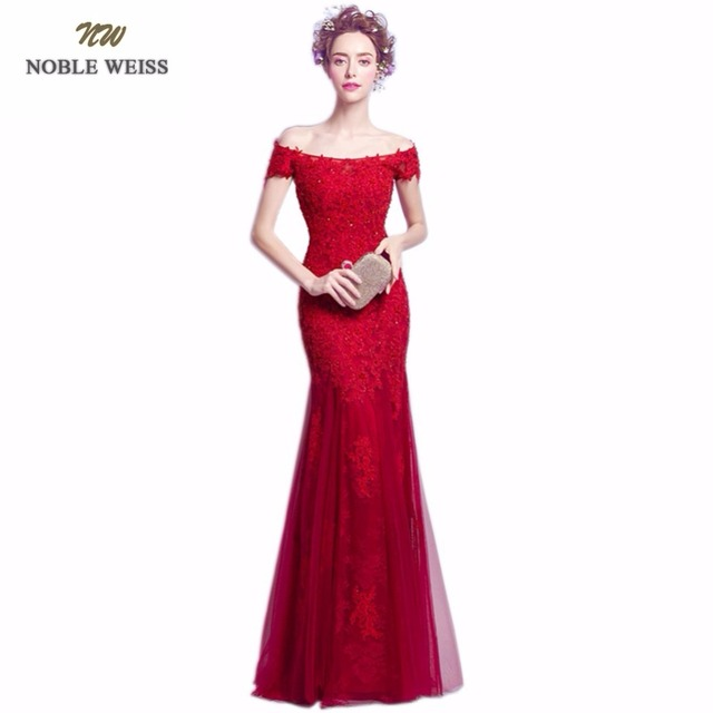 NOBLE WEISS Dark Red Evening Dresses Long Appliques Beaded Floor ...