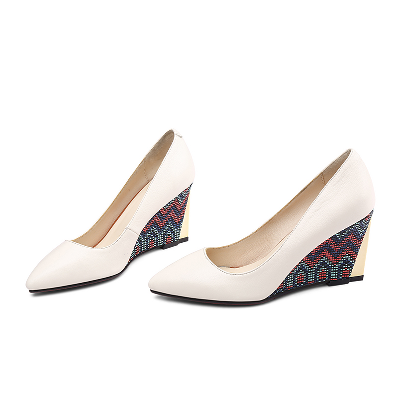 a punta femminile alti Wet con beige di Kiss Décolleté primavera mucca basse nera camoscio donna Donna slittate in scarpe nero tacchi zeppe scarpe stampa su pelle pelle wn08UxIU