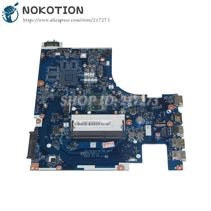 NOKOTION ACLU9 ACLU0 NM-A311 Laptop Motherboard For lenovo Ideapad G50-30 Main Board SR1W4 N2830 CPU nokotion 645386 001 laptop motherboard for hp dv7 6000 notebook pc system board main board ddr3