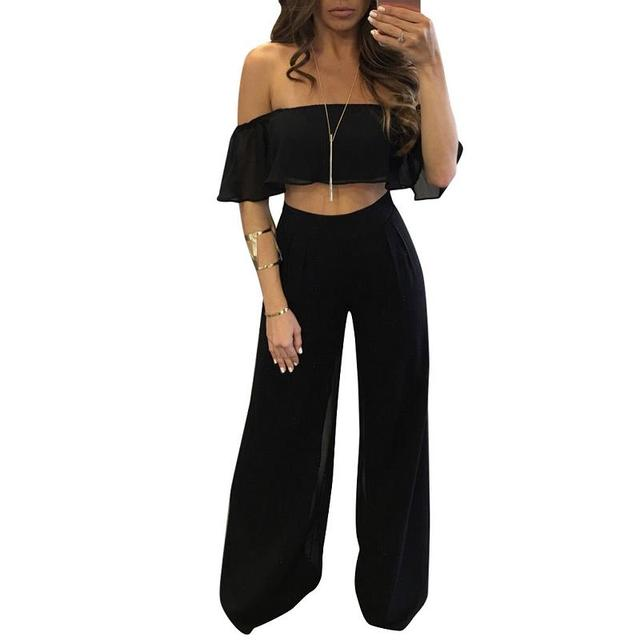4b0dd4797cf Black Blue Red Off Shoulder Top Loose Wide Leg Womens Fashion Summer  Overalls Plus Size Solid Two Piece Outfit Women Clothing
