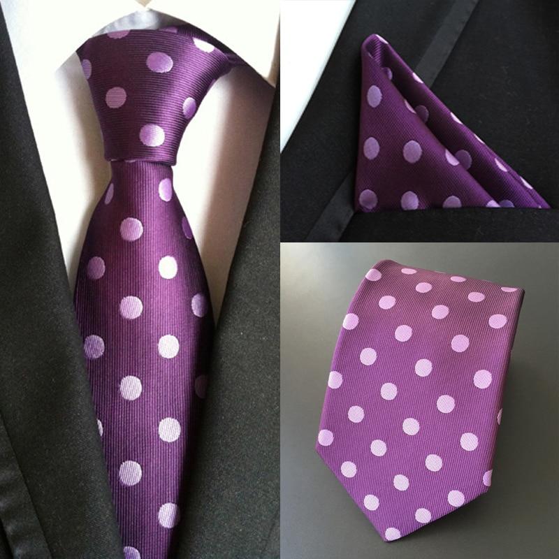 Factory Men's 100% Silk Tie & Handkerchief Set Fashion Polka Dots Pocket Square Necktie Party Wedding Business Hanky Neckties
