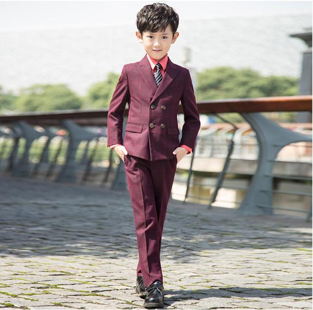 baeef7c39694 WF3001 2016 New Children Red Plaid Formal Blazer Prom Wedding Boys ...