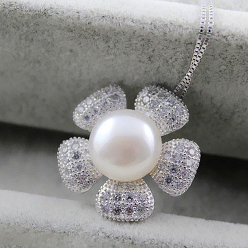 Sterling silver jewelry pendant big natural freshwater pearl pendant necklace for women mother pearl pendant fine jewelry in Pendants from Jewelry Accessories