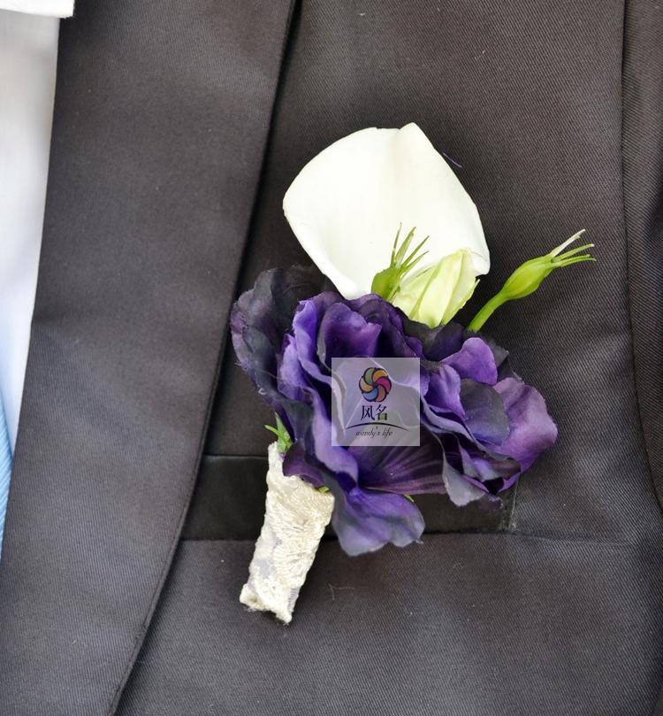 Korsase pernikahan Groom Boutonniere Pengantin Pengiring Pengantin Tangan  Wrist Bunga Buatan Pu Calla Lily Bunga Korsase 0c5dbc2e99
