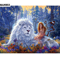 DIY 5D Diamond Paintings Cross Stones Animals Diamond Embroidered Lions Images Diamond Mosaic Patterns Home Decorations