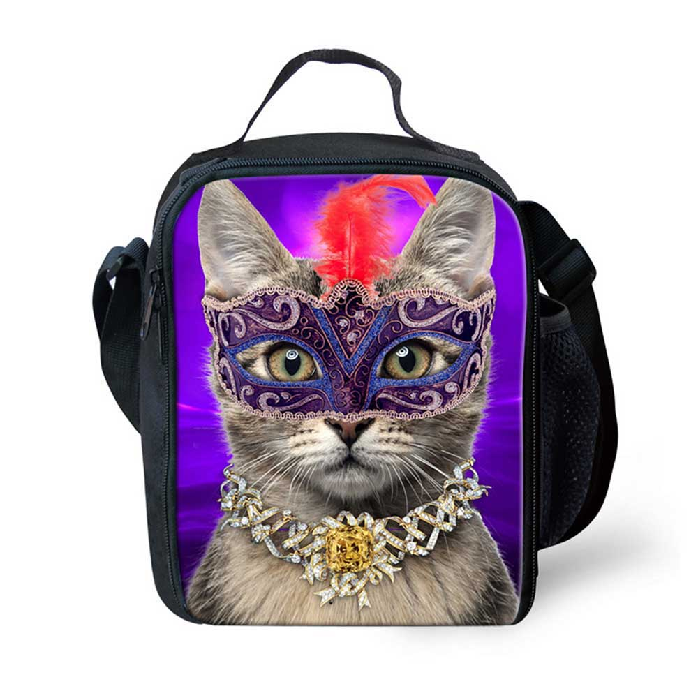Noisydesigns Insulated Lunch Bag for School Pet Cat Kids Cute Lunch Bags Women Animal Cat Children Kids Thermal Bag Lunch Bolsa