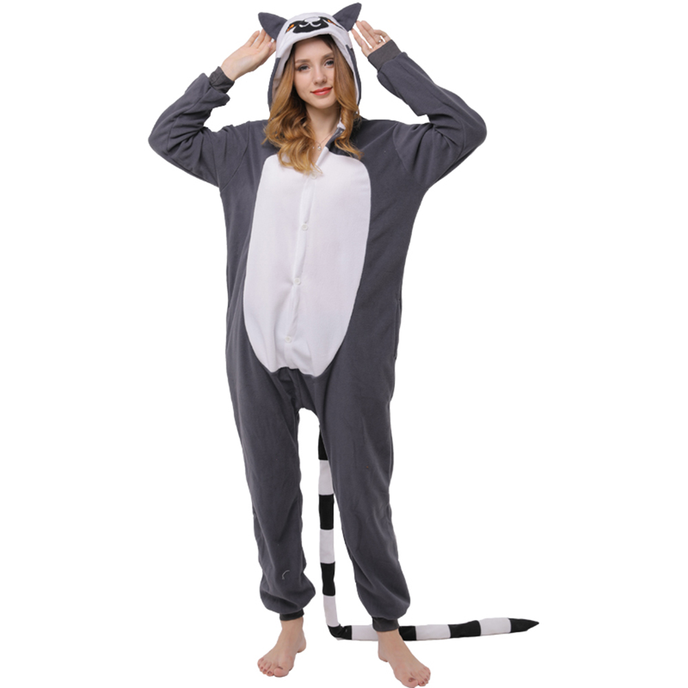 3cf4f6bf3 Funny Lemur Kigurumi Black Polar Fleece Long Tail Onesie Jumpsuit ...