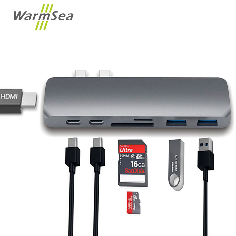 USB Type C HUB Thunderbolt 3 Dock With HDMI 4K USB 3.0 3.1 USB-C Adapter Dongle Converte combo SD TF Card For MacBook Pro