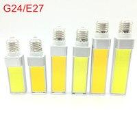 Светодиодные лампы, 10 Вт, 12 Вт, 15 Вт, E27, G24, E14, G23, светодиодная лампа, COB, прожектор, 180 градусов, AC85-265V, горизонтальная вилка