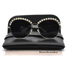 2019 Round Sunglasses For Women White Pearl Alloy Frame Black Shades Men Sun Glasses stylish golden alloy leg matte black frame sunglasses for women