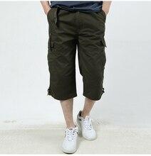 四半期固体パンツカジュアル 2019 新スタイル男性ショートパンツマルチポケットコットンクロップドパンツルーズツーリングファッション底 3