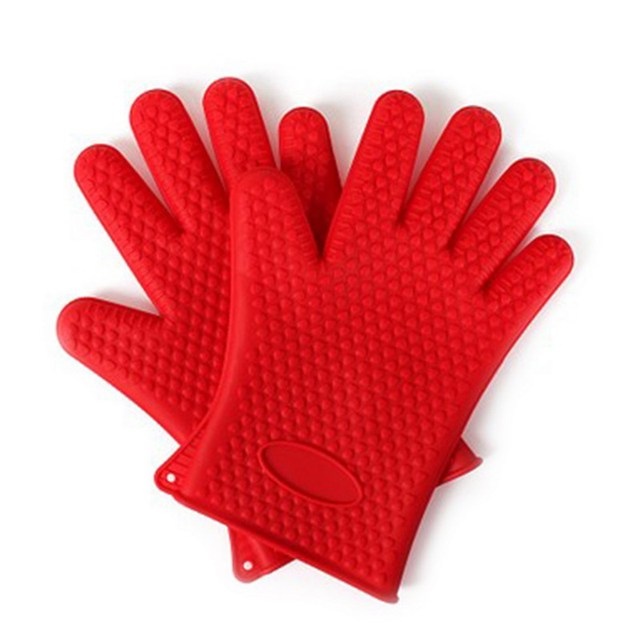 1Pair Kitchen Cooking Gloves Microwave Oven Non Slip Mitt Heat Resistant  Silicone Gloves Cooking Baking