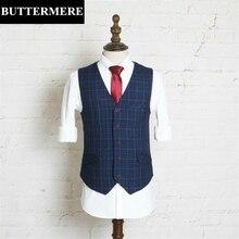 Blue Vest font b Mens b font Plaid Suit Vest Classic Design Brand Style font b
