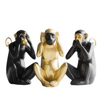 Three Wise Monkeys Statue Simulation Animal Resin Craftwork Office Hotel Living Room Decoration Gift L2798