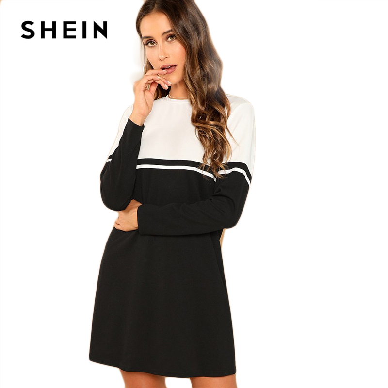 SHEIN Black And White Elegant Color Block Round Neck Long Sleeve Natural Waist Dress 2018 Autumn Casual Fashion Women Dresses