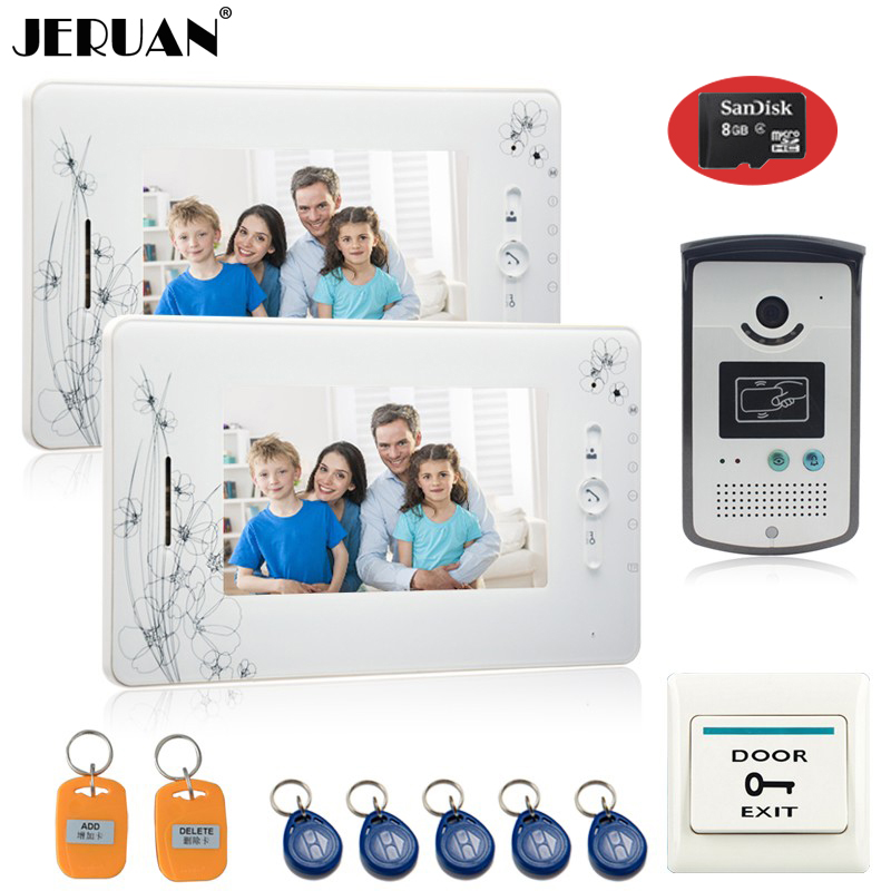 JERUAN 7 inch  video door phone intercom system  access control system 2 montior 1 camera video recording photo taking+8GB Card 300m wireless 7 inch video door phone wireless intercom system access control