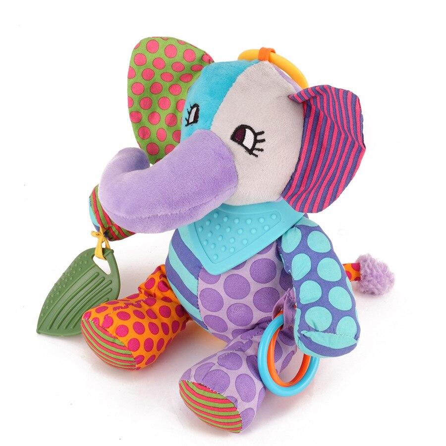 30CM Baby Plush Bed Hanging Doll Toys Infant Elephant Stuffed Lathe Teether Pendant Newborn Stroller Crib Cot Pram Sounding Toy