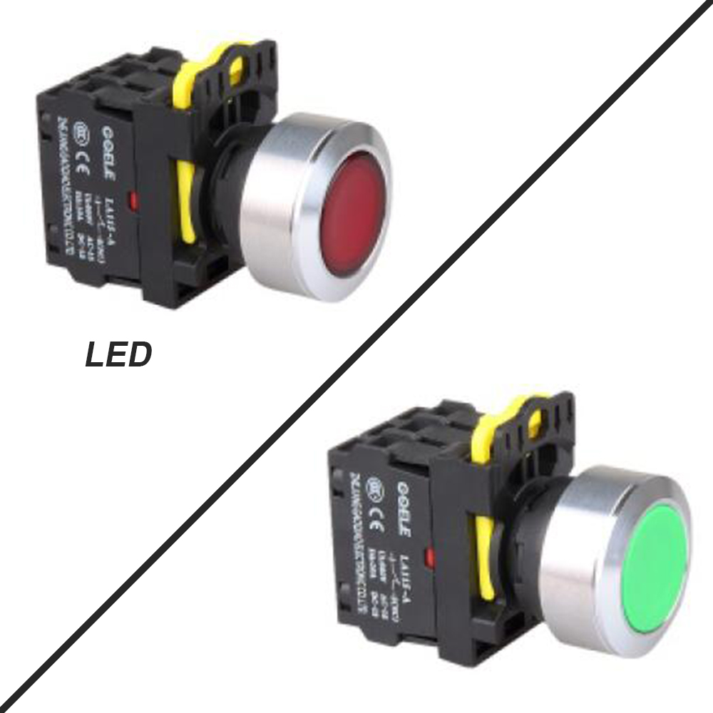 все цены на 5 PCS Push button switch Flush button LED Latching OR Momentary Waterproof IP65 1NO 1NC 2NO 2NC 6 color онлайн