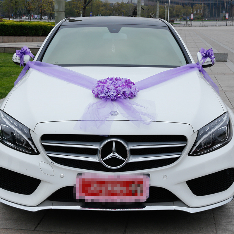 Wedding Decoration Flowers Artificial Car Garland Sets Pompoms Silk