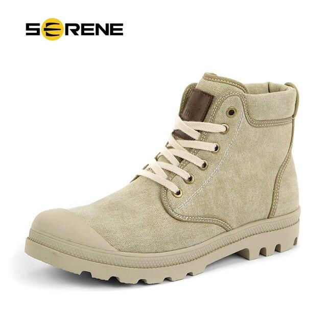 SERENO Plimsolls Sapatas de Lona Ankle Boots Homens Lace-Up Sapatos de Marca Quente Botas de Inverno Homens Botas Casuais Confortáveis Botas Chukka 3220