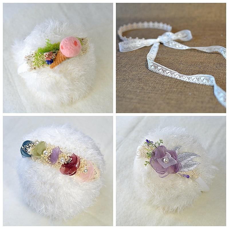 Newborn photography props newborn headband for girl baby hair accessories headmade creative flower icecream lace headwear
