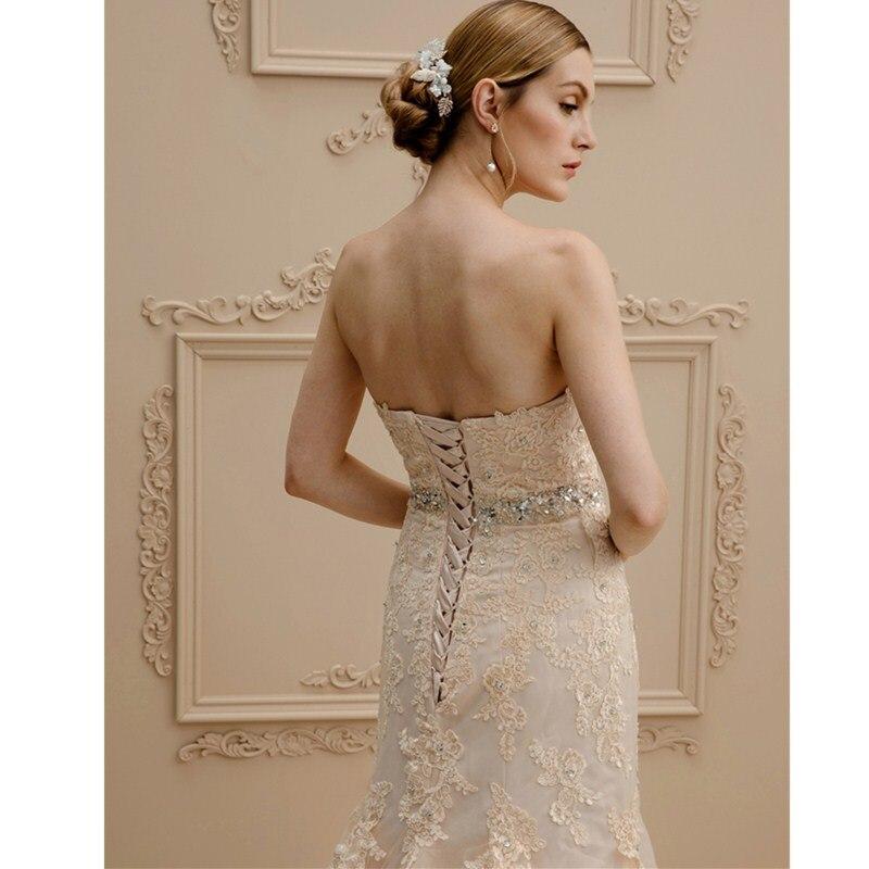 LAN Ting невесты русалка Трубы Милая суд Поезд свадебное платье Кружево Тюль свадебное платье с Бисер аппликации